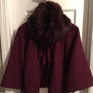 Gorgeous Cape Style Jacket with Fur Collar
